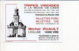 """Carte De Visite Publicitaire """"Tripes Viroises à La Mode De Caen Michel Ruault,Champion Du Monde 1966"""" L'Ecluse Vire - Cartes De Visite"""