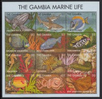 Gambia MNH Scott #1623 Sheet Of 12 Different 3d Marine Life - Turtle, Shark, Fish, Eel, Sea Horse, Octopus - Gambie (1965-...)