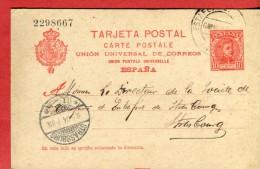 Espagne Entier Postal 1904 De Irun à Destination De Strasburg  Elsass  Scans Recto-verso - Entiers Postaux