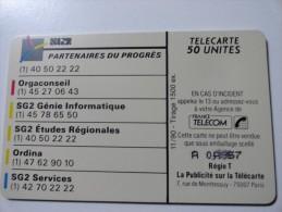 VERY RARE : DOUBLE NUMEROTATION SUR@ SG2 PARTENAIRE DU PROGRES@ USED CARD ISSUE 1500EX - France