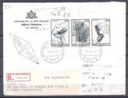 Saint-Marin Lettre Recommandée YT N°952/954 Noel 1977 - Lettres & Documents