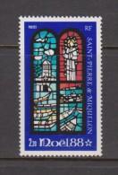 St Pierre & Miquelon 1988 Christmas Stained Glass Window Single MNH - St.Pierre & Miquelon