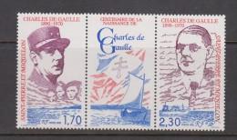 St Pierre & Miquelon 1990 De Gaulle Anniversary Gutter Pair With Label - St.Pierre & Miquelon