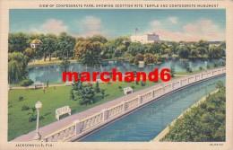 Etats Unis Florida View Of Confederate Park Showing Scottish Rite Temple And Confederate Monument Jacksonville - Jacksonville