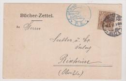 ALLEMAGNE  //  Bucher-Zettel  //   De Strasbourg  //  Pour Rixheim  //   7/2/1916 - Stamped Stationery