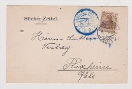 ALLEMAGNE  //  Bucher-Zettel  //   De Strasbourg    //  Pour Rixheim  //   14/01/1916  //  Cachet Censure - Stamped Stationery
