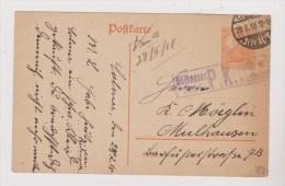 ALLEMAGNE  //  Postkarte   //   De Colmar  //    Muhlhausen      //    28/2/1918   //  Cachet Censure - Stamped Stationery