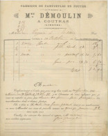 FACTURE COUTRAS GIRONDE DEMOULIN PANTOUFLES 1891 - Unclassified