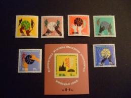 POLAND  1963    MICHEL 1418/23 + BLOCK 10    ATHLETICS          MNH **   (0544-NVT) - Athletics