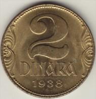 @Y@    Joegoslavie  2 Dinara  1938   Unc    (2755) - Yugoslavia