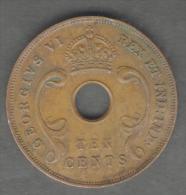 EAST AFRICA 10 CENTS 1942 GEORGIUS VI - Monete