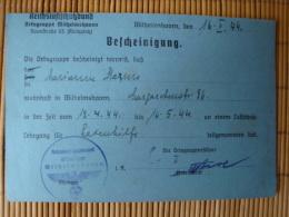 Reichsluftschutzbund Wilhelmshaven, Bescheinigung Für Luftschutzlehrgang, 1944 ! - Documenti