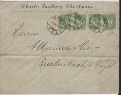 Nor019 / NORWEGEN -  Posthorn-Ausgabe 1899, 5 Öre (4 X) Nach Deutschland 1900 Ex Christiania - Norwegen