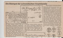Schweden/ LITERATUR -  Vorphilatelie Auf 3 DIN A 4 Seiten - Philately And Postal History
