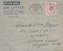 Nigeria 1944 Apapa Lagos Medical Service Department WAASC Incoming Air Letter Cover - Nigeria (...-1960)