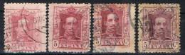Cuatro Sellos 5 Cts Alfonso XIII, Variedad Color, Num 312, 312a, 312b, 312c º - 1889-1931 Reino: Alfonso XIII