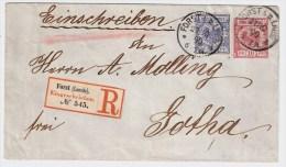 "DR, 1890, 20 Pfg. Farbe "" A "" Auf GSU Als Reko ! , S840 - Briefe U. Dokumente"