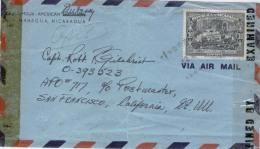 Nicaragua 1943 Managua US American Embassy To APO 717 San Francisco Censored Examined By 1964 - Nicaragua