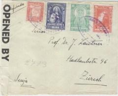 Bolivia 1940 Oruro Registered Cover To Zürich Switzerland Censor Re-sealing Label OBE 5033 - Bolivië