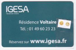 IGESA Résidence Voltaire Paris / France - Clé De Chambre - Hotelkarten