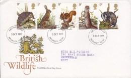 Great Britain FDC Cover 1977 British Wildlife WWF Panda Issue 5-Stripe Sent To KENT Hedgehog HareSquirrel Otter Badger - 1971-1980 Dezimalausgaben
