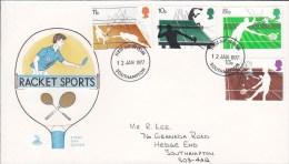 Great Britain FDC Cover 1977 Racket Sport Tennis Wimbledon Mercury Cachet - 1971-1980 Dezimalausgaben