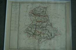 AFFICHE - SUPERBE RETIRAGE CARTE GEOGRAPHIQUE DEPARTEMENT HAUTE VIENNE 1790- ASSEMBLEE NATIONALE 6 DISTRICTS - 40 CANTON