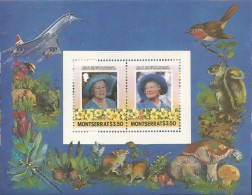 Montserrat 564 Queen Mother Birthday Perforated Missing The 85th Birthday Of *** Queen Mother Block MNH 1985 A04s - Montserrat