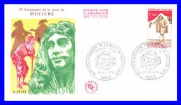 1771 (Yvert) Sur FDC (GF-PJ) - Tricentenaire De La Mort De Molière - France 1973 - FDC