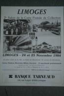 87 - LIMOGES - BELLE AFFICHE 2E SALON CARTE POSTALE- 1987- GARE BENEDICTINS- IMPRIMERIE VILLOUTREIX SAINT JUNIEN - Afiches