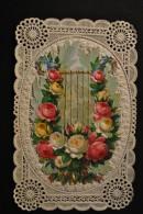 Image Pieuse Canivet Dentelle - A Système Lyre De Roses En Chromo Ouvrant Sur Jésus - Images Religieuses