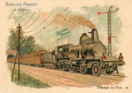 CHROMO - IMAGE  -  BISCUITS  PERNOT  -  CHEMIN De FER - Vecchi Documenti