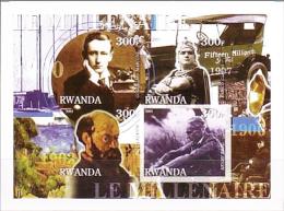 Ruanda 2001 IMPERFORATE Sheet Rwanda Marconi Cezanne Caruso Ford MNH 4 Val - Fogli Completi