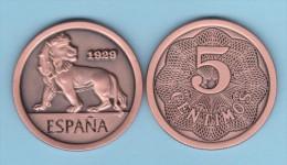 SPAIN/ESPAGNE/ESPAÑA  Alfonso XIII 5 Céntimos  1.929 (tipo 2) Cy 17583 Aledón 130.PM1 Copy  Cobre  SC/UNC  T-DL-11.082 C - [ 1] …-1931 : Royaume