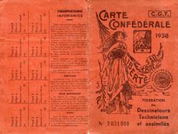 CARTE CONFEDERALE CGT  1938  FEDERATION DES DESSINATEURS TECHNISIENS ET ASSIMILES  Région Parisienne H - Documents Historiques