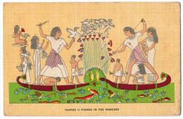 """Illustrateur ?  Ou Détail De Dessin -- Egypt--Old Art Postcard--""""Ramses II Fishing In The Marches"""" éd Lenhert & Landrock - Histoire"""