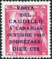 Ed 1089** Visita Del Caudillo A Canarias 2ª Tirada 10 Cts Sobre 1 Pts Nuevo Sin Charnela - 1931-50 Nuevos & Fijasellos