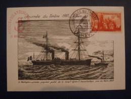 """- Le Havre  - Flamme Société Philatélique Havraise - 1947 - Paquebot  """"Le Washington """" - 1940-49"""