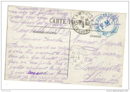 Lamballe Cachet FM  155 Infanterie Lamballe Franchise Militaire 1915 - Poststempel (Briefe)