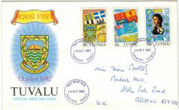 TUVALU - 1982 - Royal Visit - Funafuti - FDC - Viaggiata Per Bristol, England - Tuvalu