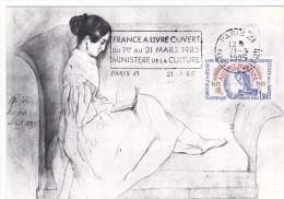 Carte-Maximum FRANCE N°Yvert 2257 (FEMME LISANT) Obl Sp FLAMME Culture (Ed Musée Victor HUGO - Léopoldine) RRR - 1980-89