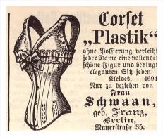 """Original Werbung - 1884 - Korsett """" Plastik """" , Schwaan In Berlin , Corset !!! - Leibwäsche"""