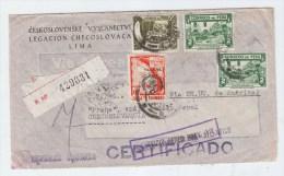 Peru/Czechoslovakia REGISTERED AIRMAIL COVER 1946 - Peru