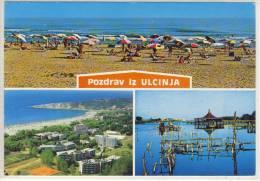 Pozdrav Iz ULCINJA; ULCINJ -  Multi View, Panorama, Airmail Stamp - Montenegro