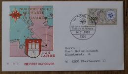 Germany Fdc 1993-01-14 BONN+ DUITSLAND, GERMANY,+1993+125 J. NORDDEUTSCHE SEEWARTE IN HAMBURG A 1,00 Euro - Covers & Documents