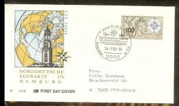 Germany Fdc 1993-01-14 Deutschland FDC Mi. 1647 (4) - 125 Jahre Norddeutsche Seewarte - Hamburg A 1,00 Euro - Covers & Documents