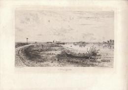 1868 - La Seine à Bezons - Eau-forte Originale D'Henri Saffrey - FRANCO DE PORT - Estampes & Gravures