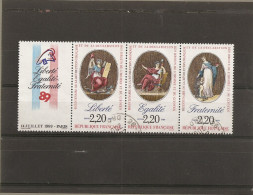 """France 1989 Oblitéré N° T2576  Tryptique Avec Vignette   """" Bicentenaire Révolution """" Avec N° 2573-2574-2575 - Usati"""