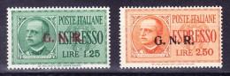 Italien 1932/33 Militärpostmarken Guarda Nazionale Aufdruck G.N.R. Mi.# 33 + 34 ** Signiert Oliva - Militärpost (MP)