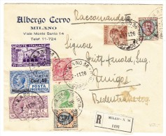 Italien R-Brief 2.11.1926 Milano 36 Albergo Cervo Nach Zürich Ankunftsstempel - 1900-44 Victor Emmanuel III.